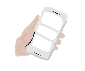 Close-up illustration of a hand holding a cell phone