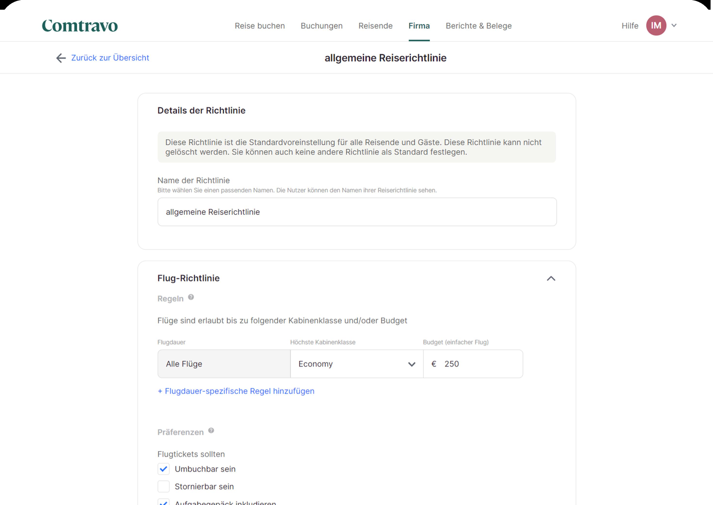 Comtravo Screenshot von Buchungsplattform mit Einblick in Reiserichtlinien