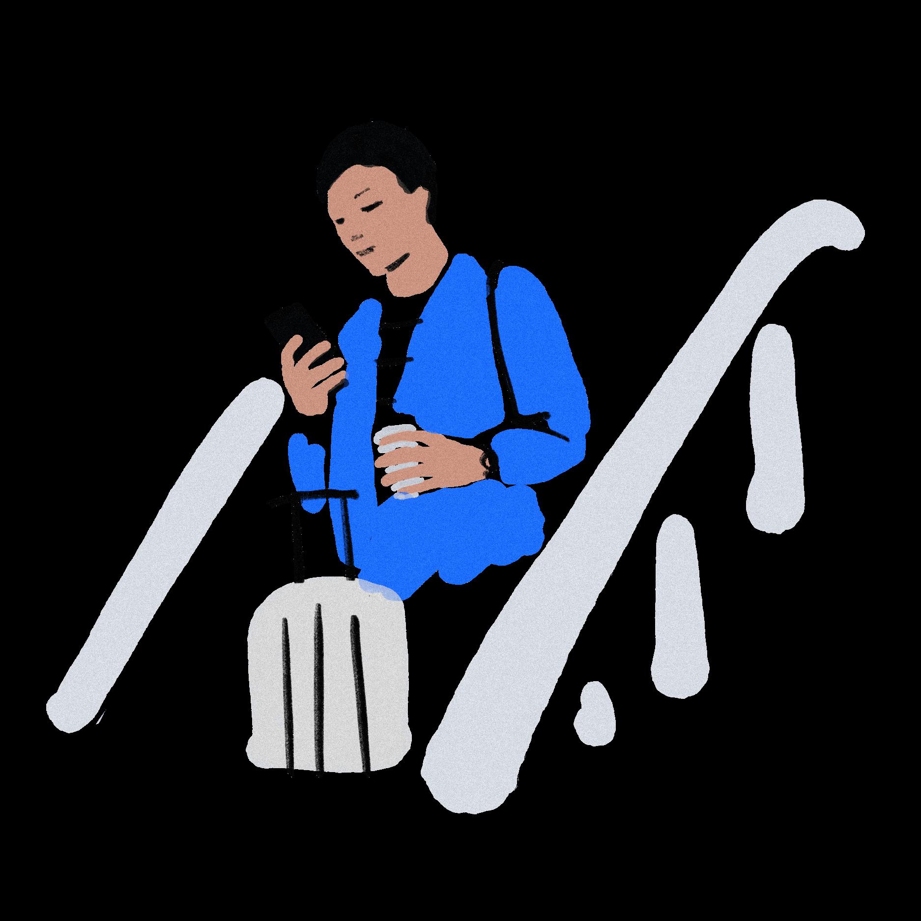 Illustration Mann auf Rolltreppe mit Handy in der Hand