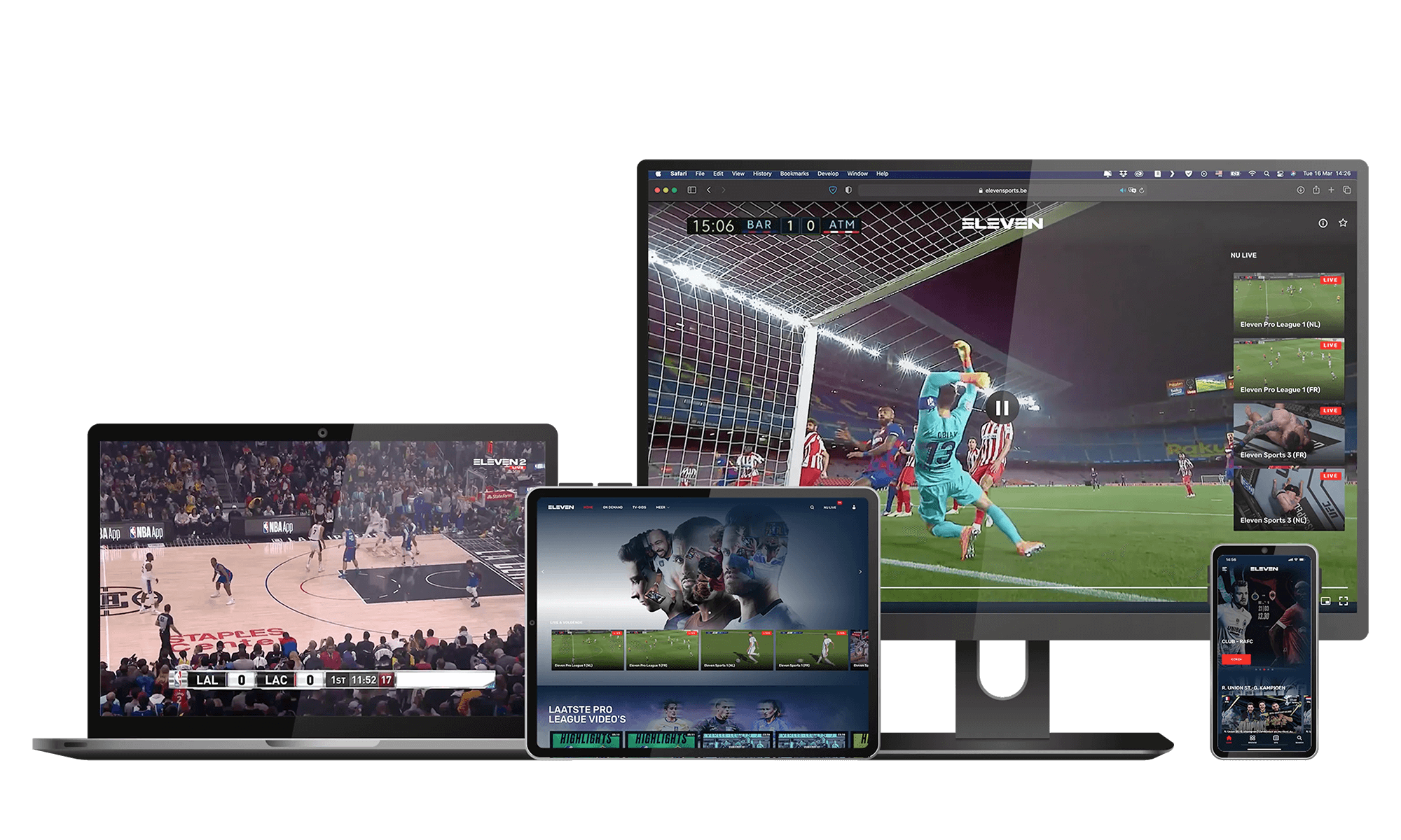 Different screens showing different sports, Eleven Sports
