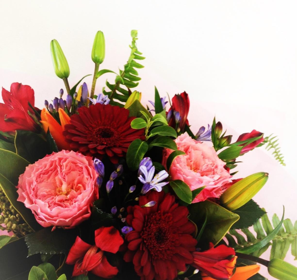 A beautiful mix of flower Bouquet .#The flower photo is an indication, flowers may change over the seasons. If there is a flower or colour you would like please let us know in the checkout notes. (no roses likes gerberas, likes red flowers ect).
