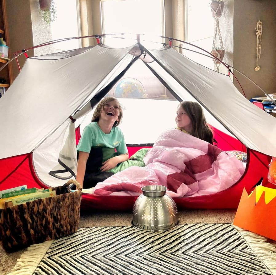 Instagram image from Coley showing kids in an indoor tent.