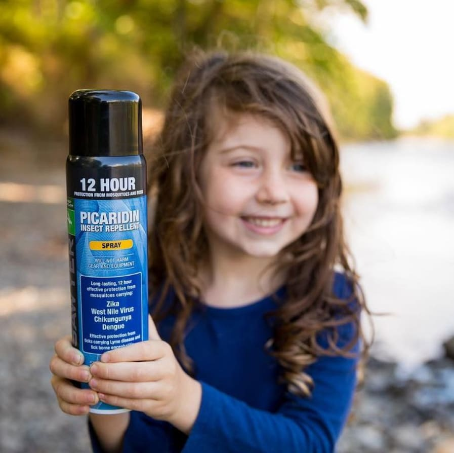 Instagram image from Joshua showing his daughter holding up a picaridin insect repellent.
