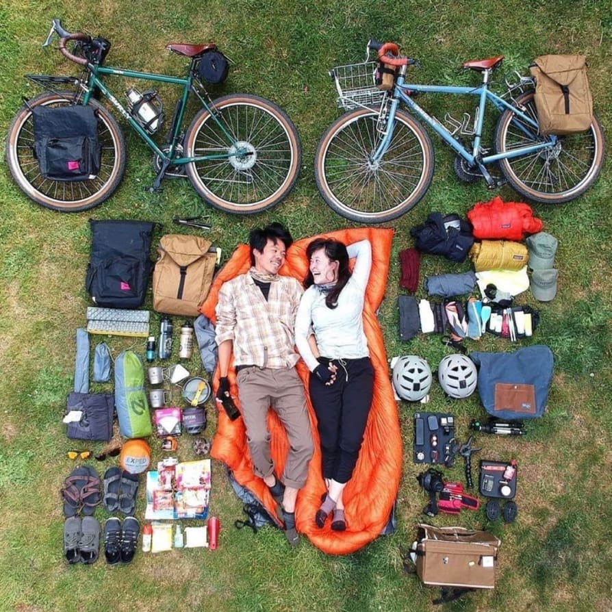 Image by kustar showing a flat lay of all their biking gear.