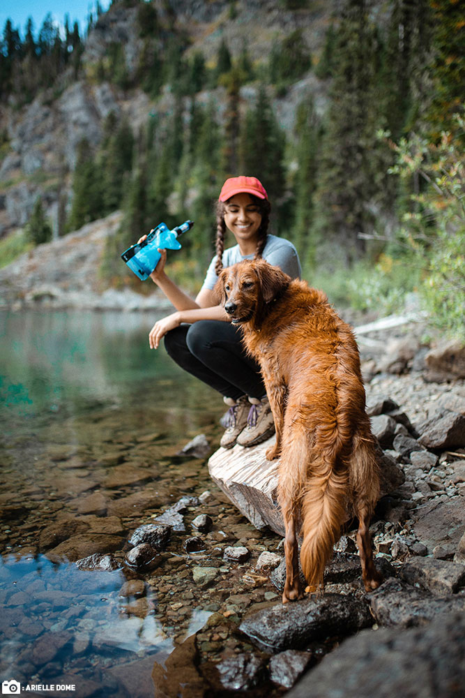 A Woman and her Golden Retriever Dog Use a Sawyer MINI Water Filter at the Water's Edge