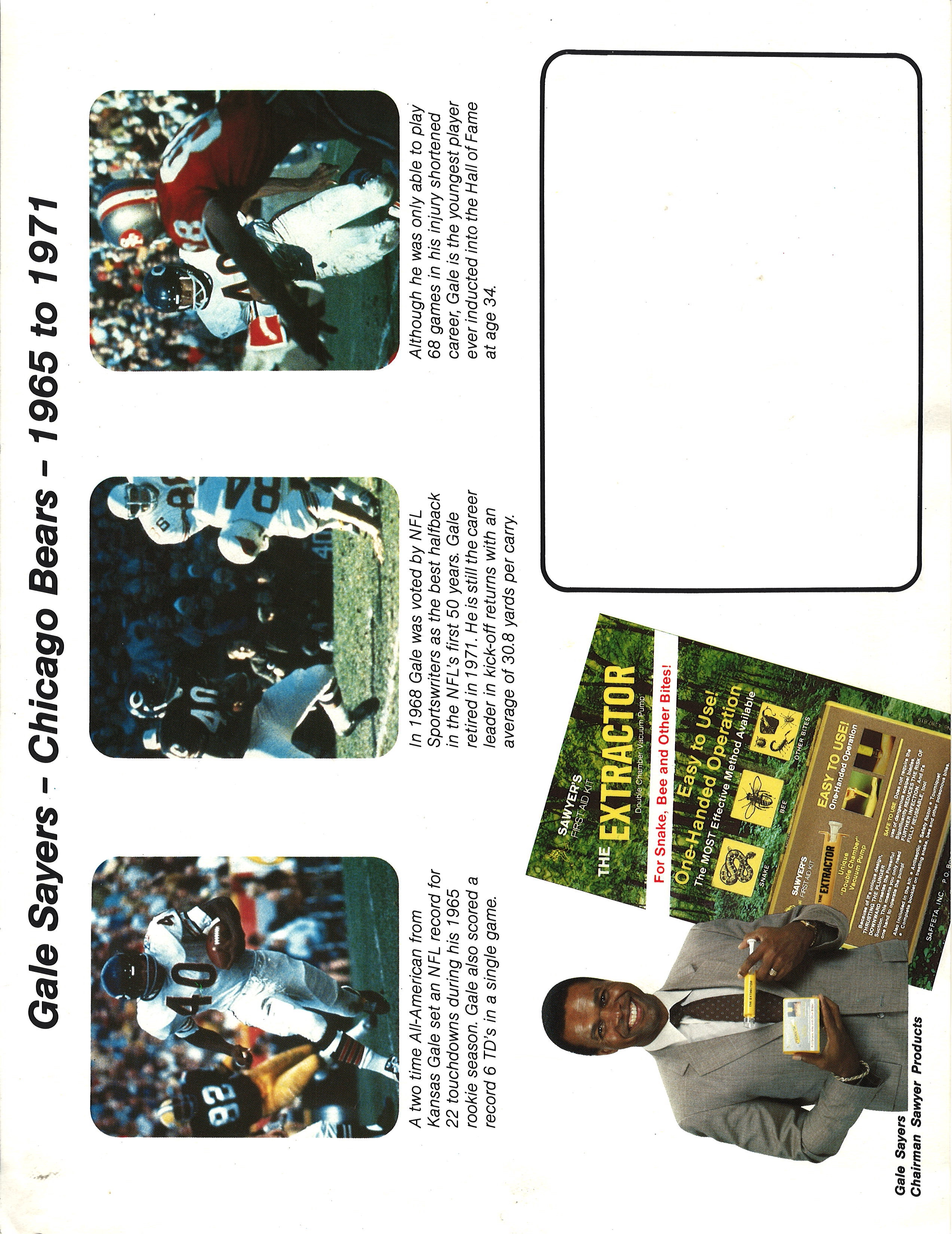Vintage Sawyer Extractor Ad with Gale Sayers