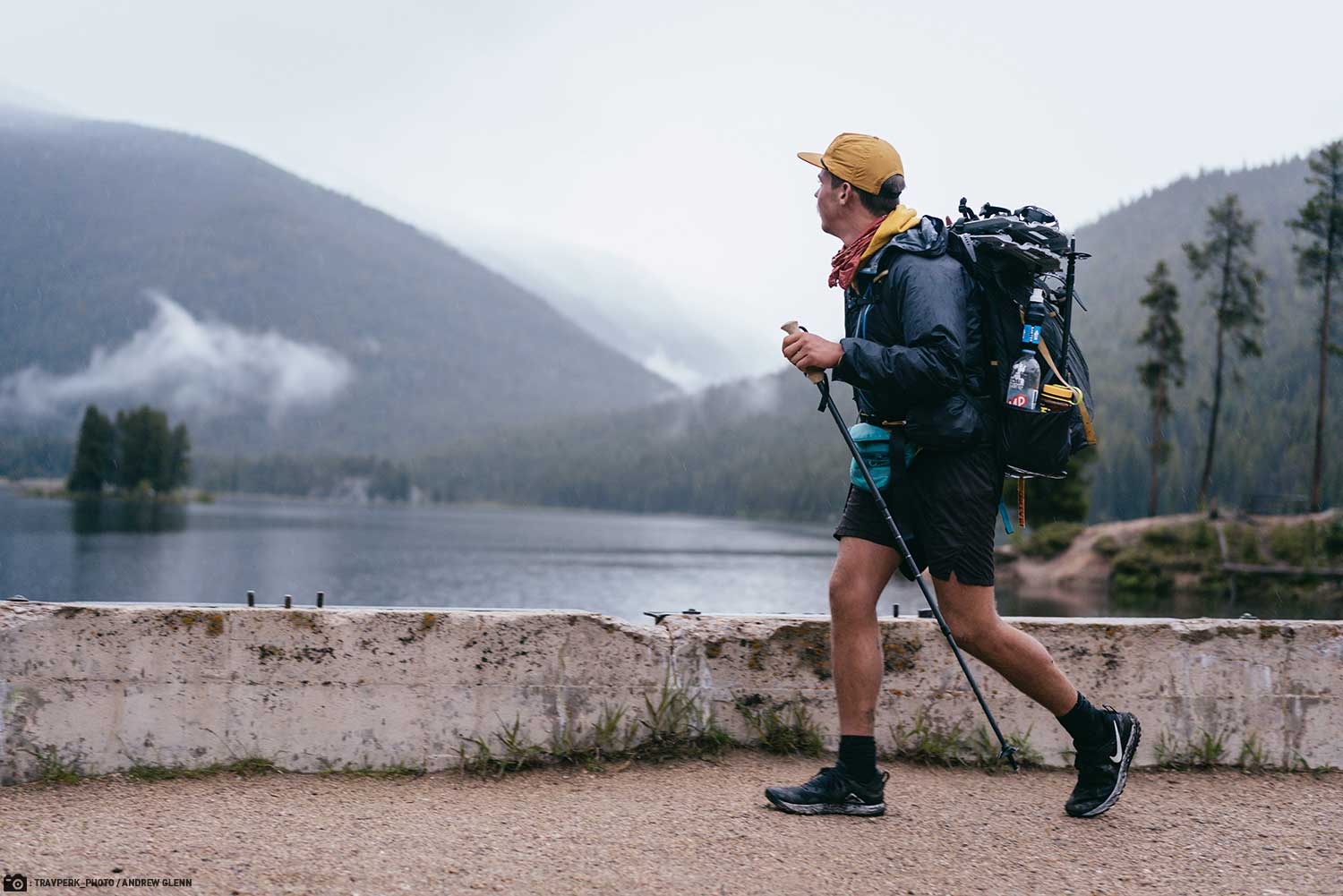 Andrew Glenn Thru Hiking with a Sawyer Squeeze Water Filter Visible in his Backpack