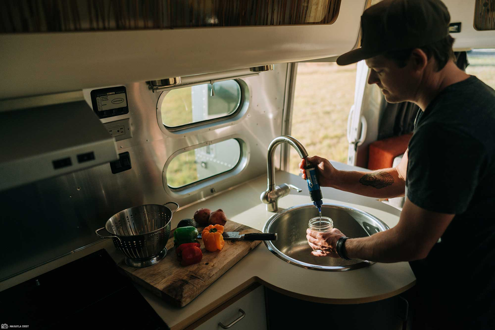 Wider View of Sawyer Tap Filter on RV tap while cooking dinner