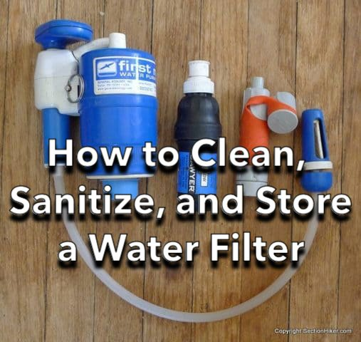 How to cean, sanitize, and store a water filter in the off season with a display of filters