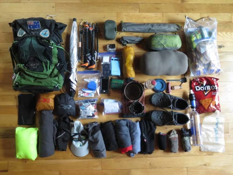 Gear Shot of Entire Packing List organized on the floor