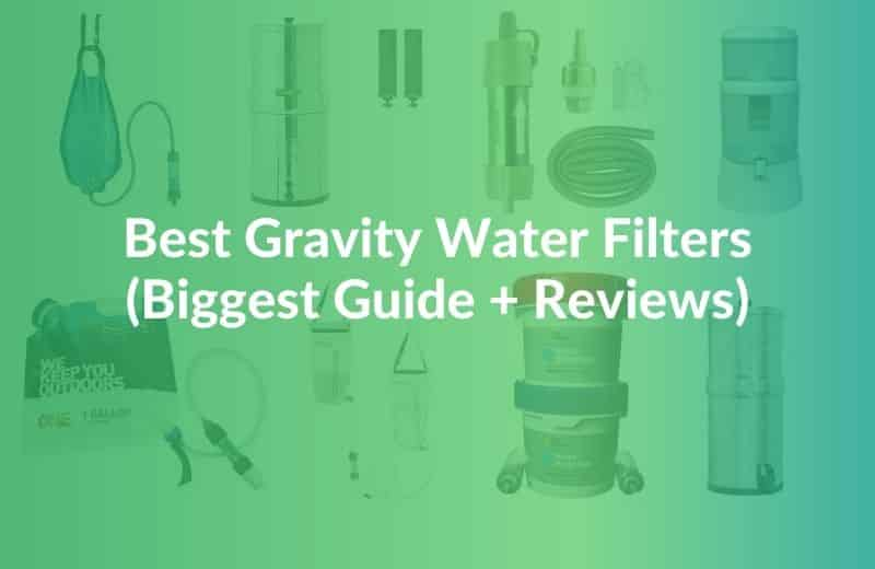Best Gravity Water Filters text over multiple water filters in the background
