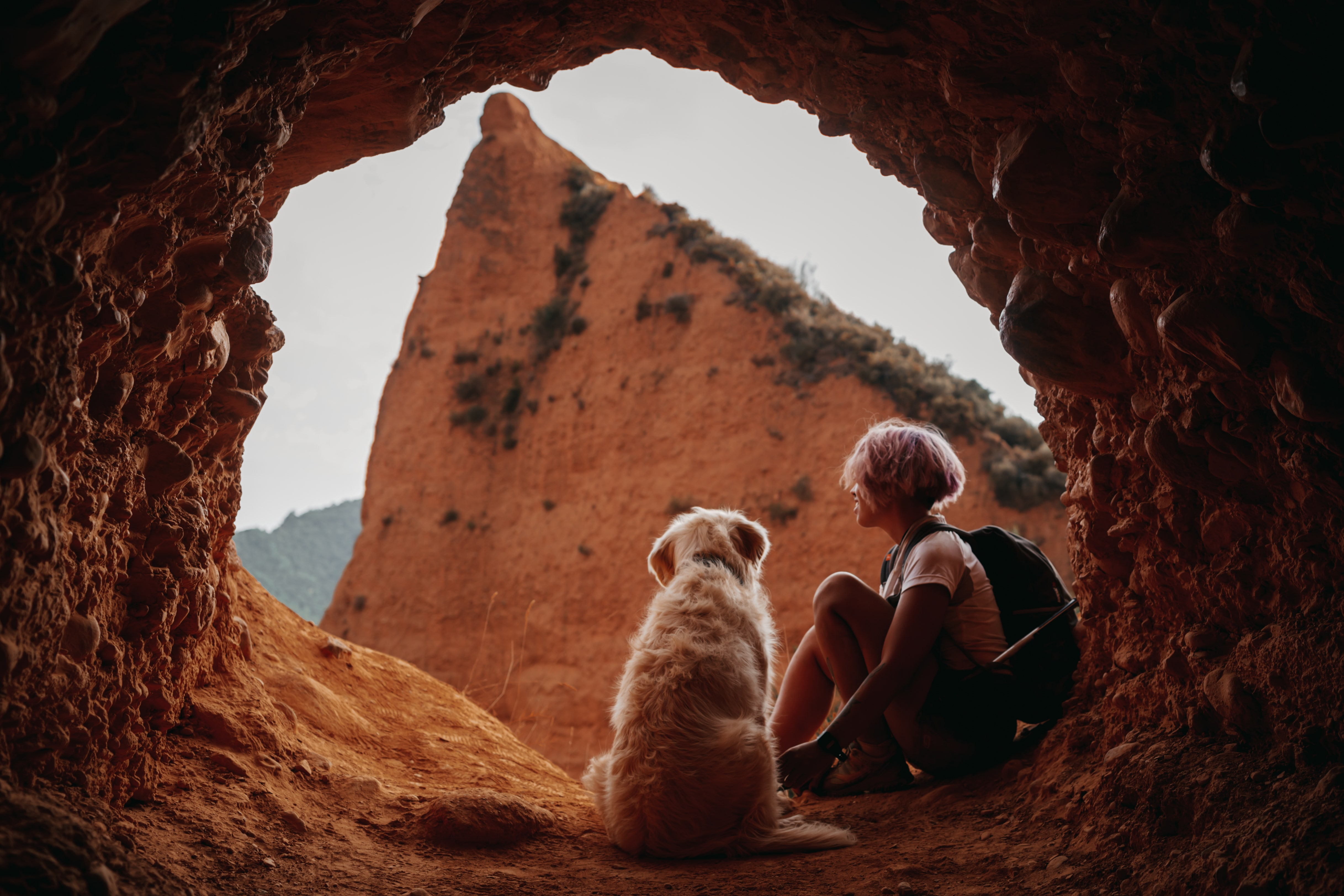 Dog and Person sitting in a cut out rock fromation looking out at the open.